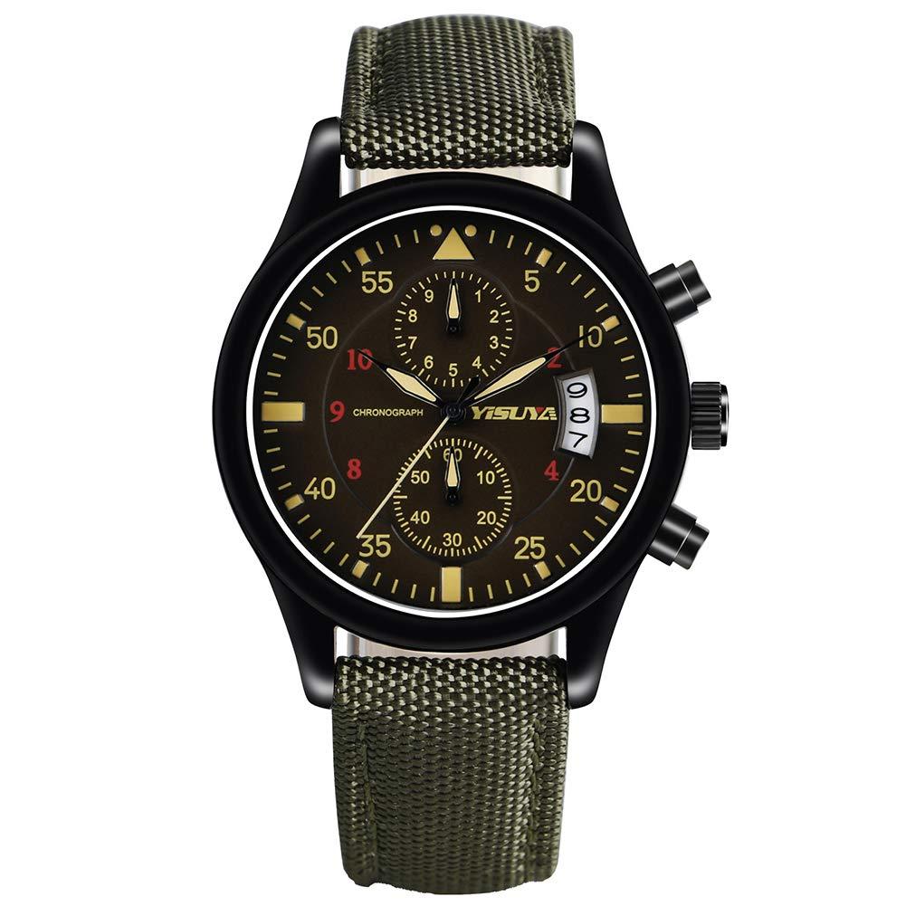 YISUYA Chronograph Quartz Wrist Watch with Date Waterproof Japanese Movement Watch Army Green Nylon Band Gift for Men