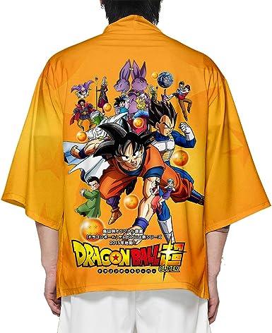 Kimono Dragon Ball Estampado Cardigan Camisa Son Goku Son Gohan Cosplay Tshirt Japonés Elegante Kimono Albornoz Verano Pijamas