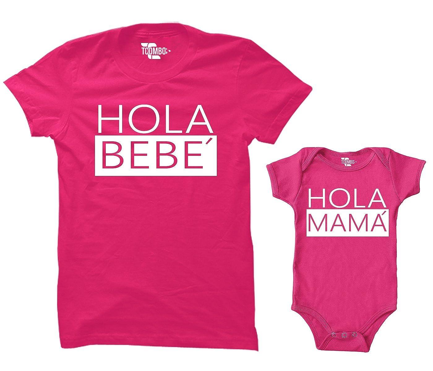 Amazon.com: tcombo Hola Bebe/Hola Mama Juego de Body y ...
