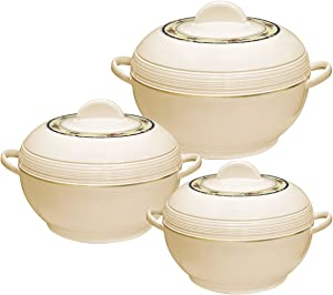 Asian Ambiente Large Food Warmer Hot Pot Set Of Insulated Casseroles 6 8 And 10 Litre