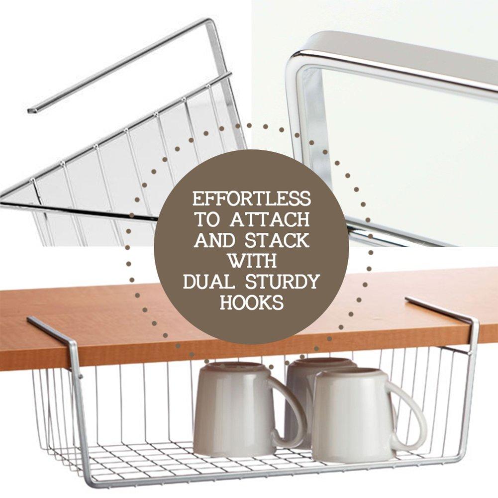 dual desk bookshelf small. Amazon.com: 2 Pcs Under Cabinet Storage Shelf Wire Basket Organizer Fit Dual Hooks For Kitchen Pantry Desk Bookshelf Cupboard - Premium Anti Rust Stainless Small