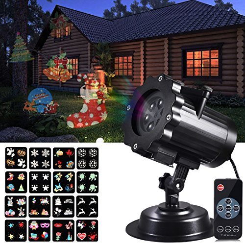 Rophie LED Projector Light, Waterproof Outdoor/Indoor Landscape Decoration Lighting with 16 Excluxive Design Slides for Halloween Christmas New Year Birthday -