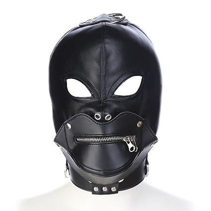 Fetiche PU BDSM Esclavitud Capucha SM Máscara Cremallera Esclavo Restricciones Juguete Sexual Por Parejas Producto Sexual