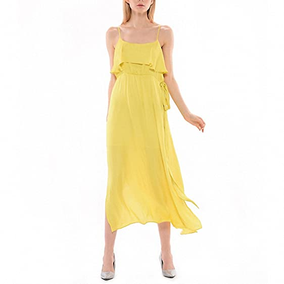 NEW yellow maxi women dresses long summer dress bandage dress vestidos mujer boho robe gown elbise