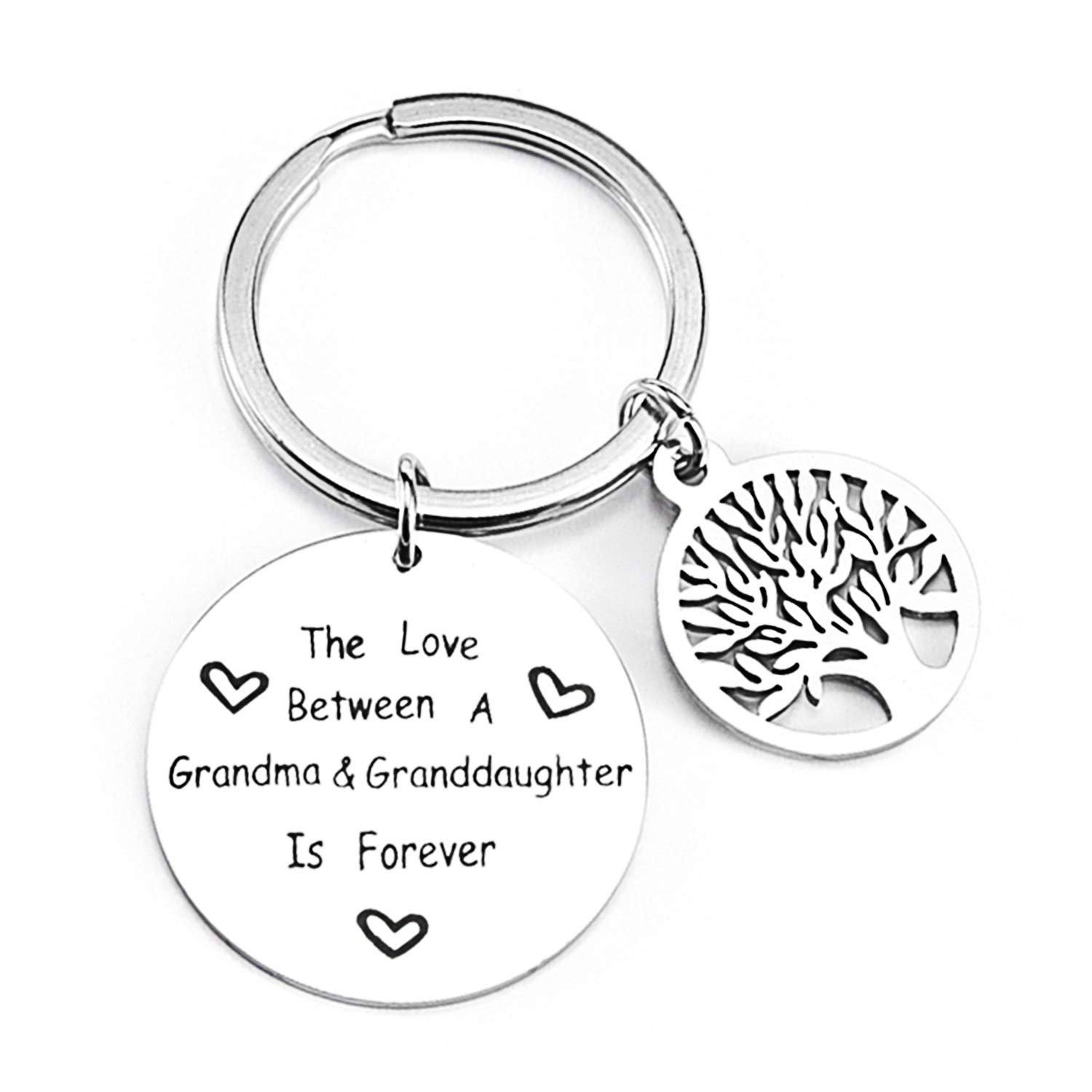 Women Mother Daughter Keychain, Stainless Steel Tree of Life Charm Pendant Key Ring, Mom Birthday Christams Gifts