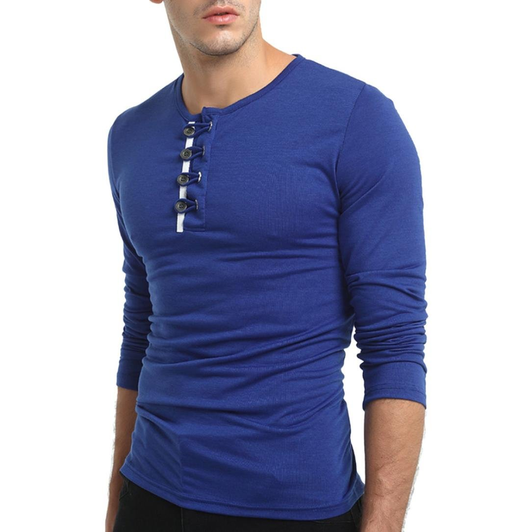 Pervobs Mens Long Shirts, Big Promotion! Men's Autumn Casual Long Sleeved T-Shirt Solid Pullover Button Sweatshirts Top Blouse (M, Blue)
