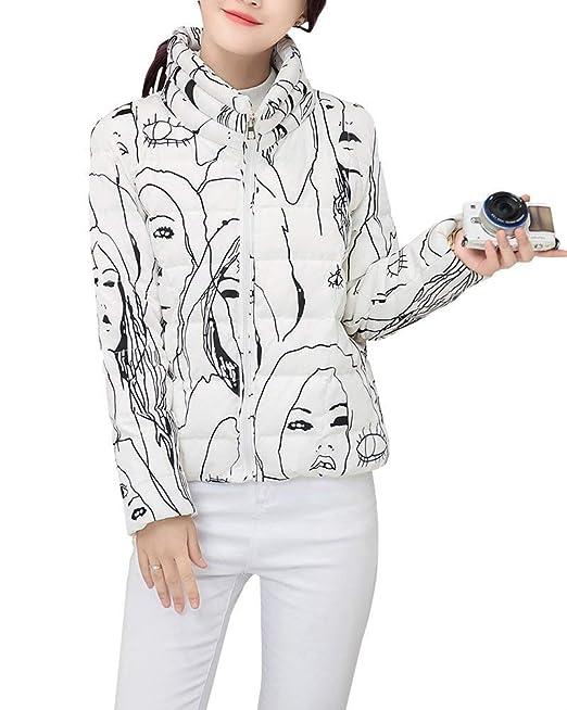 Pureed Mujer Chaqueta Acolchada Cortos Invierno Chaqueta Joven Otoño Graffiti Ligeramente Abrigos Acolchado Stand Cuello Caliente Jacket con Cremallera ...