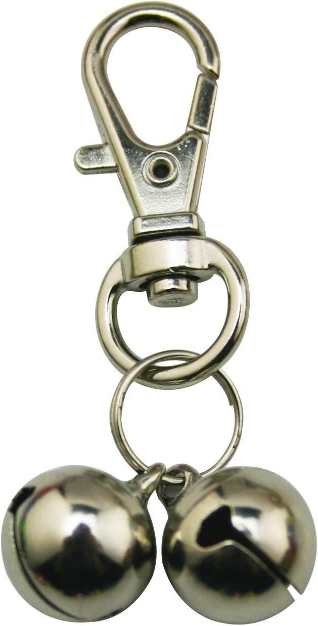 Silver Knight - Broche de Langosta Gigante con 2 cascabeles para Perros, Gatos, Conejos, Caballo, Loro, pájaro, Collar de Jaula de periquitos, Llavero con Alarma