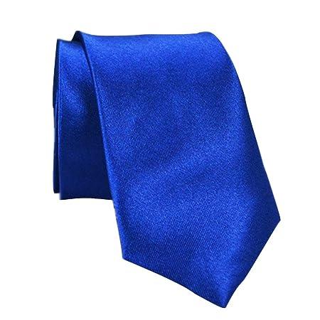 Corbata de cuello de seda de poliéster de 5 cm para hombre azul ...