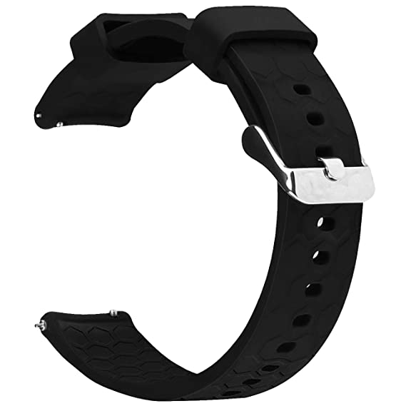 Watch Band/Strap for Pebble time Smartwatch Band Replacement Accessories with Metal Clasps Watch Strap/Wristband Silicone (Style2-Black)