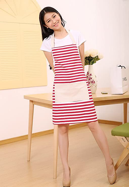 Women/'s 100/% Cotton Canvas Southwestern White Blue Gold Apron Cooking Baking Gardening Cleaning Arts Crafts Painting