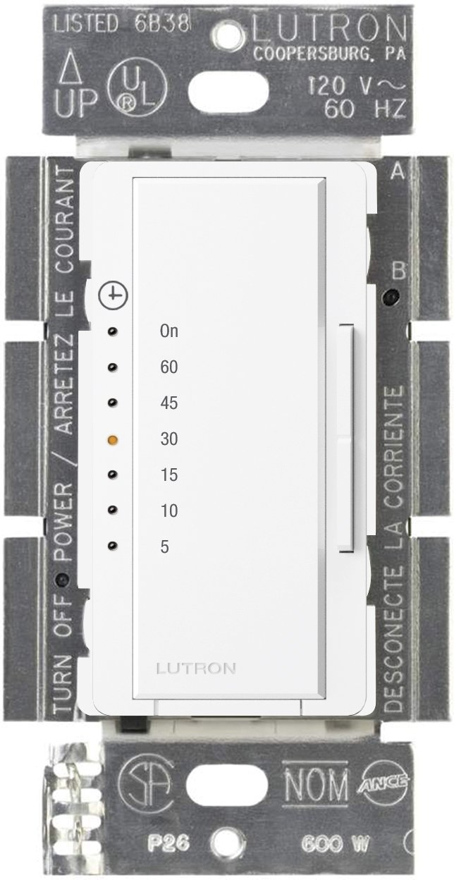 Lutron Maestro Countdown Timer for Fans or Halogen and Incandescent Bulbs, Single-Pole, MA-T51-WH, White