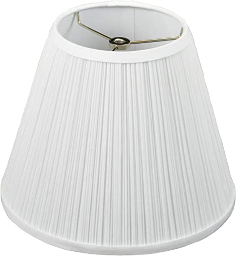FenchelShades.com Lampshade 6 Top Diameter x 11 Bottom Diameter x 9 Slant Height with Washer Spider Attachment for Lamps with a Harp Pleated Mushroom White