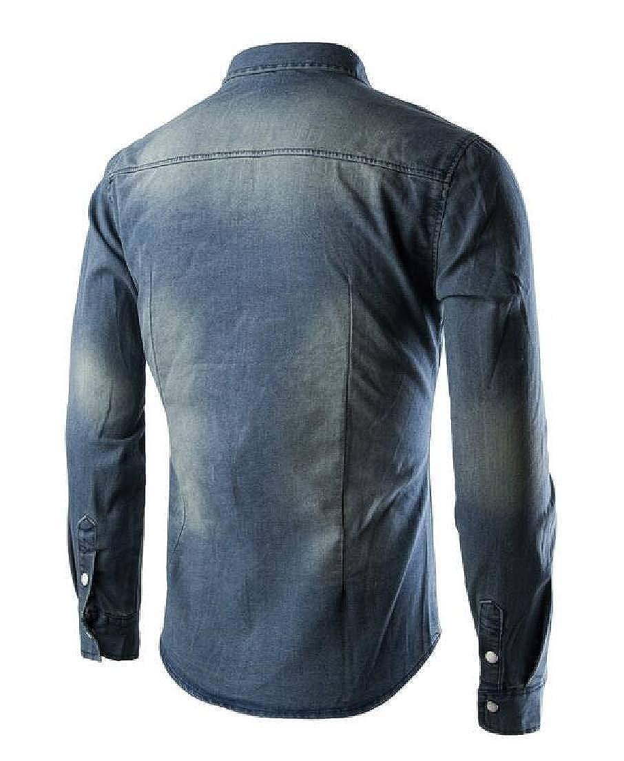 pipigo Men Slim Fit Casual Long Sleeve Casual Dress Shirt Shirts Denim Shirt