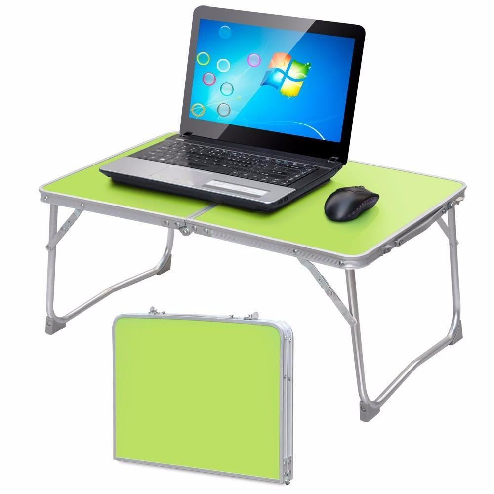 Yaheetech Foldable Laptop Table/Breakfast Serving Bed Tray/Portable Mini Picnic Table/Lightweight and Folding Camping Table with Inner Storage Space and Soft Handle for Sofa Couch Floor (Green) by Yaheetech