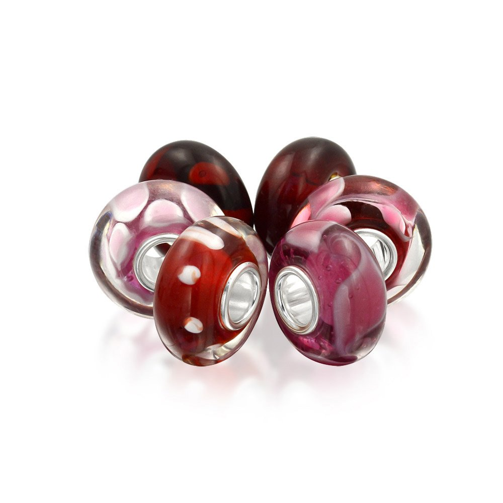 Simulated Garnet Set of Six Bundle Pink Red white Murano glass Lampwork .925 Sterling Silver
