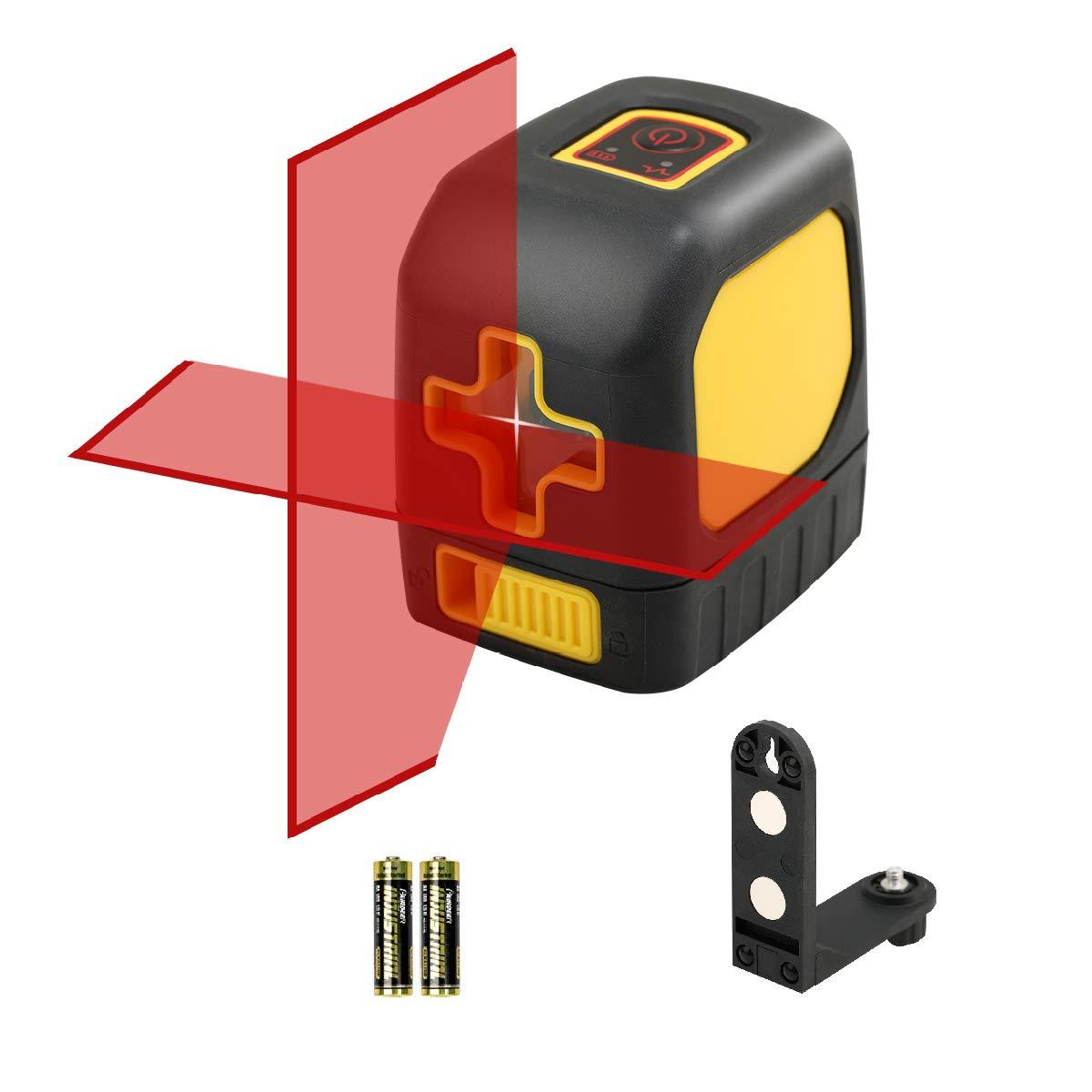 Nivel láser, láser DLEADER Cross Line rojo con láser de línea horizontal y vertical autonivelante conmutable, giratorio de 360 grados con base magnética flexible, batería incluida (Rojo)