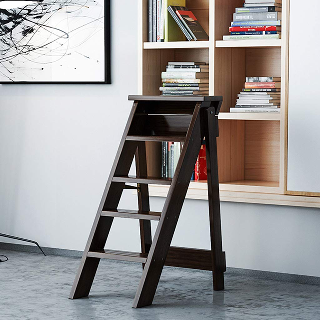 braun 150 kg Fassungsverm/ögen Trittleiter Hocker f/ür Hausgarten Klappst/ühle Tritt- // Treppenleiter-Regal 5-Stufen-Leiter aus Holz Robustes und breites Pedal
