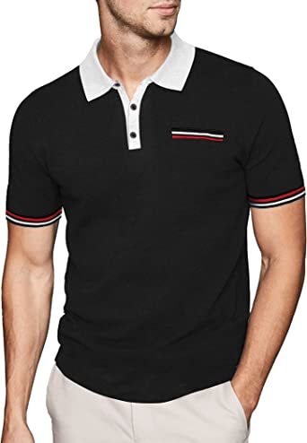 COOFANDY Men's Short Sleeve Polo Shirt Striped Sleeves Classic Fit Casual Polo T Shirt with Pocket