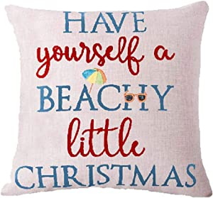 ZYCH Have Yourself a Beachy Little Christmas Cotton Linen Square Throw Pillow Case Cushion Cover 18 x 18 Throw Pillow Covers (9)