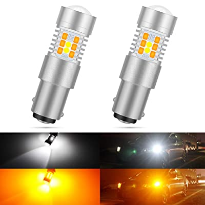 KATUR 7528 1157 BAY15D 1016 1034 Switchback LED Bulbs White/Yellow High Power Extremely Bright 3030 Chipsets with Projector for Turn Signal Lights and Daytime Running Lights/DRL (Pack of 2): Automotive