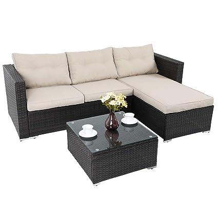 PHI VILLA 3-Piece Patio Sofa- Outdoor Rattan Furniture Set (Beige) - Amazon.com : PHI VILLA 3-Piece Patio Sofa- Outdoor Rattan Furniture