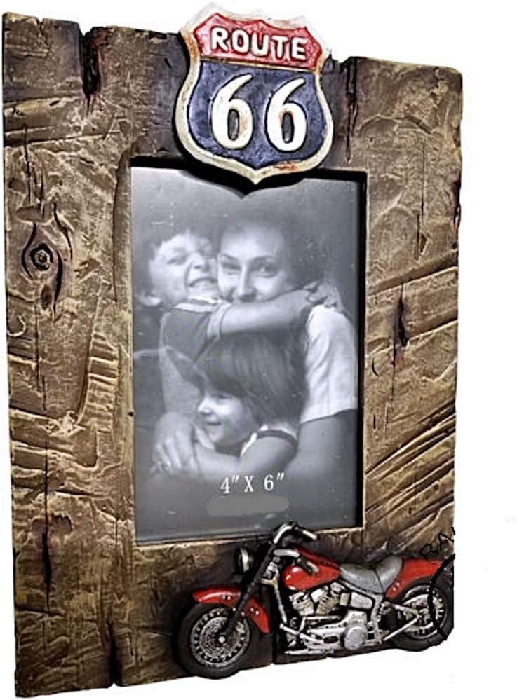 Westernranch Fotorahmen Bilderrahmen 3 D Route 66 Motorrad Biker