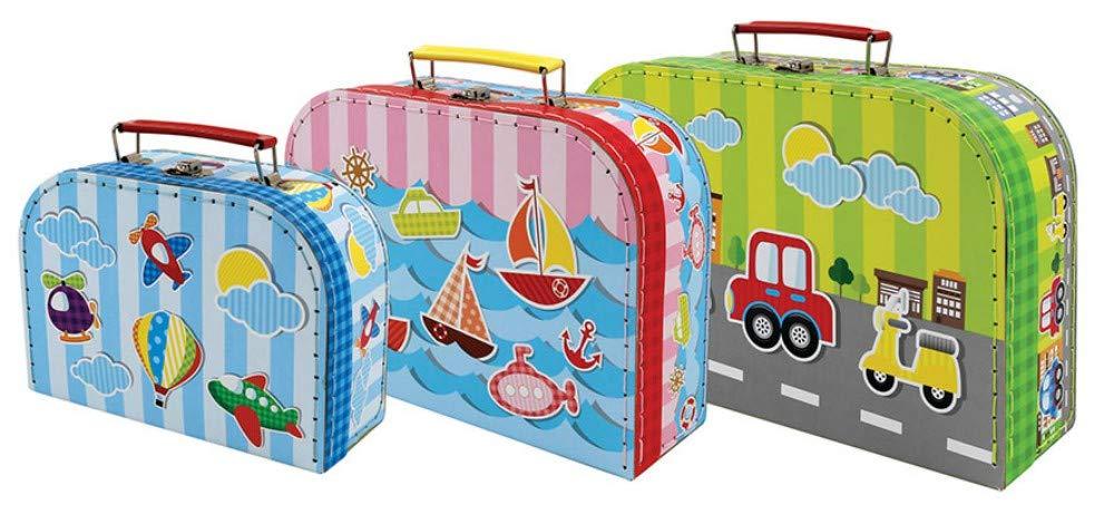 Set de 3 Maletas Infantiles Decorativas Maletas VEHICULOS. Accesorios para Viajar. Juguetes y Juegos de colección. Regalos Originales para Reyes, ...