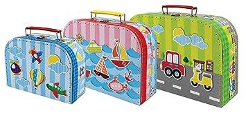 Set de 3 Maletas Infantiles Decorativas Maletas VEHICULOS. Accesorios para Viajar. Juguetes y Juegos