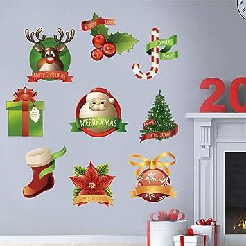 Adesivi Murali Natale.Decalmile Adesivo Murale Natale Babbo Natale E Albero Di Natale Regali Di Natale Vetrofanie Adesivi Da Parete Finestra Vetrina Festa Decorazione