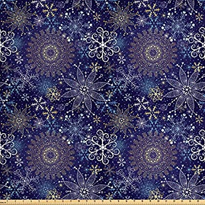 Image of Ambesonne Dark Blue Fabric by The Yard, Christmas Inspired Pattern with Ornate Curly Snowflakes Mandala Style, Decorative Fabric for Upholstery and Home Accents, 10 Yards, Indigo White Fabric
