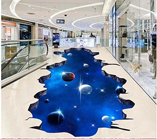 LHDLily Sky 3D Dimensional Painting Outdoors Painting Floor Tiles Pvc Waterproof Floor Self-Adhesive 3D Floor ()
