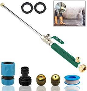 DBR Tech Hydro Jet High Pressure Power Washer Wand for Car Washing or Garden Cleaning, Heavy Duty Metal Watering Sprayer with Universal Hose End, Hydrojet Water Power Nozzle, Green