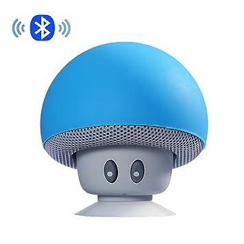 eff704428ddef ipuis Mini tragbarer Stereo Bluetooth Lautsprecher mit wasserdichtem Pilzes  Entwurf Handfrei-Mikrofon und Saugnapf -