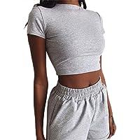Conjunto de ropa deportiva sexy para mujer, 2 piezas, color sólido, deporte, fitness, gimnasio, camiseta de cintura alta…