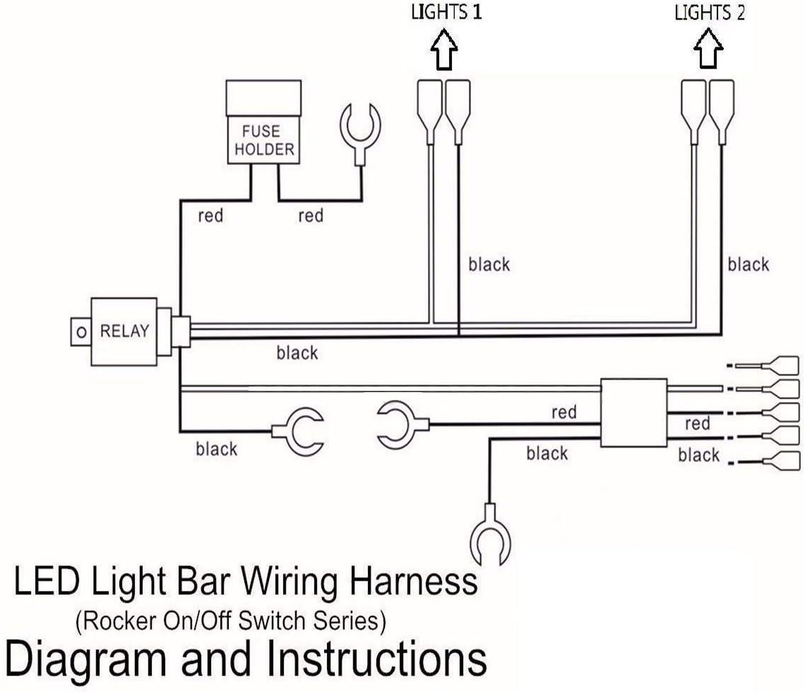 HugeAuto Car Motor LED Work Light Wiring Kit 300W 40A Motorhome Boat Rocker Illuminated Relay Fuse 5 Pin Black Wiring Harness Switch