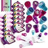Unicorn Stationary Party Souvenirs Favors 36 Gift Pack – 12 Mini Notebooks – 12 Feather Pens – 12 Stampers – Kids Birthday Party Supplies Bulk Set - Ideal As Party Favor, Reward Prizes, carnival And Events