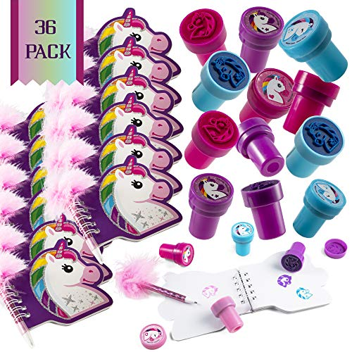 FavonirTM Unicorn Stationary Party Souvenirs Favors 36 Gift Pack - 12 Mini Notebooks - 12 Feather Pens - 12 Stampers - Kids Birthday Party Supplies Bulk Set - Ideal As Party Favor, Reward Prizes, carnival And Events ()