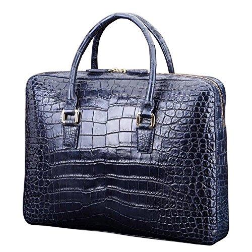 Men's Crocodile Belly Leather Briefcase Top Handle Bag | Rossieviren