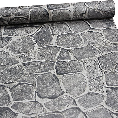 (11 Yard Stone Wallpaper Peel and Stick Removable Castle Tower Brick Rock Wall Fortress)