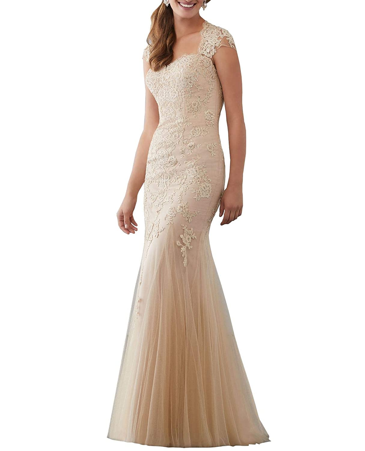 Champagne Aishanglina Caps Shoulder Embroidered Appliques Beaded Evening Gown Floor Length Party Tulle Dress