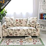 iisutas Stretch Couch Covers Loveseat Slipcovers Fitted Cover Seat Furniture Protector with Two Pillow Case (54''-70'' Loveseat, Blooming Flower)