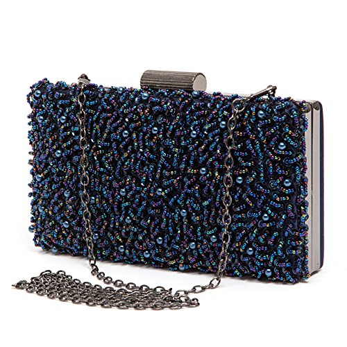 Couture Clutch - Lady Couture Sequin Beaded Clutch Bag by, Juliette Bag Navy