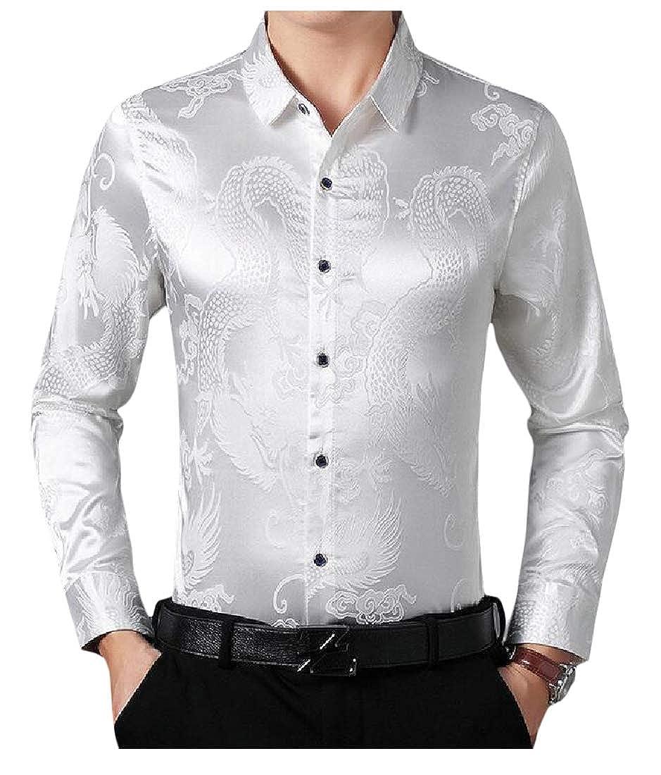 Cromoncent Mens Faux Silk Top Long-Sleeve Button Down Shirts