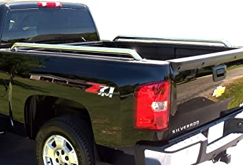 Topline Autopart SS Stainless Steel Chrome Truck Bed Side Bar Rail For 73-87 Chevy//GMC CK C//K 10 15 20 25 30 35 1500 2500 3500 6.5 Ft 78 Short Bed