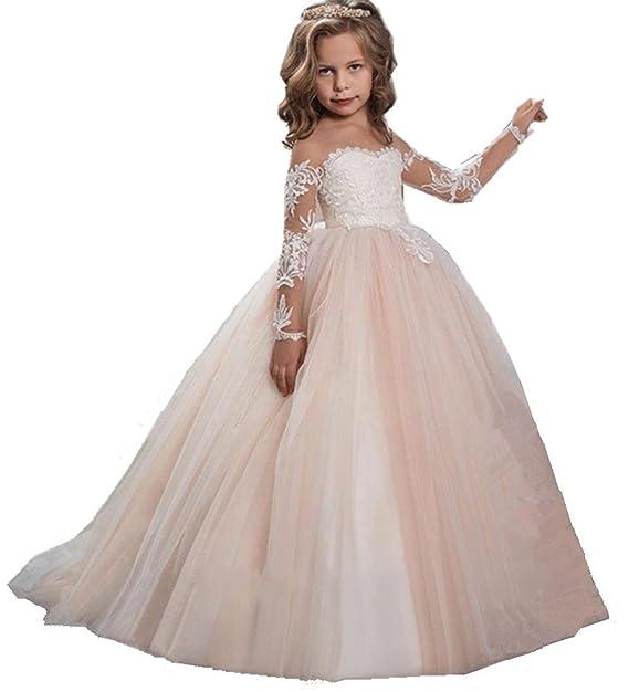 fac733715ca7 KekeHouse Vestito da ragazza in pizzo a maniche lunghe per Matrimonio  Vestito da Comunione Vestito da damigellina Vestito da Partito 2-13 anni   Amazon.it  ...