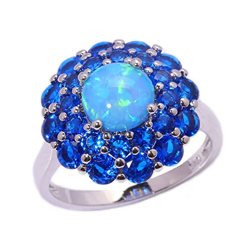 F/&F Jewelry Blue Sapphire Opal Ring Jewelry For Women Engagement Wedding Bridal Rings