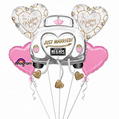 Just Married Wedding Car Mylar Foil Balloon Bouquet Set: Home & Kitchen