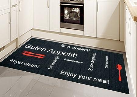 Tapis Moderne Flatweaves Gel Runner Cuisine de Tapis Runner Noir Rouge avec Lettrage Bon App/étit Gr/ö/ße 67x180 cm
