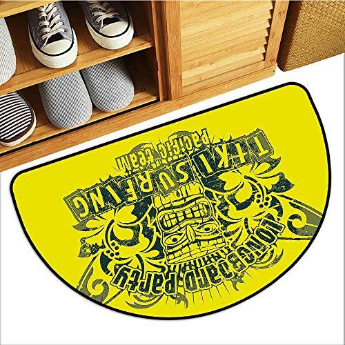 (Non-Slip Door mat Tiki Bar Decor Tiki Surf Team Longboard Party Grungy Display Hibiscus Flora Art Breathability W31 xL20 Apple Green Dark Green)